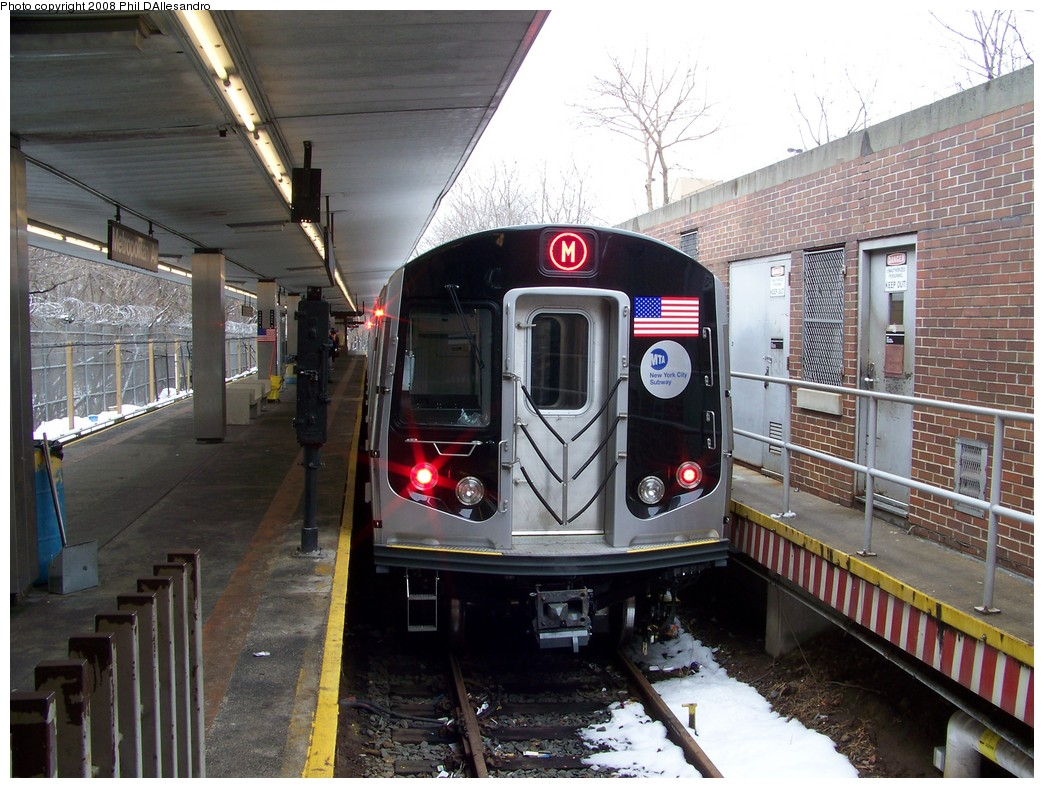 (250k, 1044x788)<br><b>Country:</b> United States<br><b>City:</b> New York<br><b>System:</b> New York City Transit<br><b>Line:</b> BMT Myrtle Avenue Line<br><b>Location:</b> Metropolitan Avenue <br><b>Route:</b> M<br><b>Car:</b> R-160A-1 (Alstom, 2005-2008, 4 car sets)  8445 <br><b>Photo by:</b> Philip D'Allesandro<br><b>Date:</b> 2/23/2008<br><b>Viewed (this week/total):</b> 0 / 3379