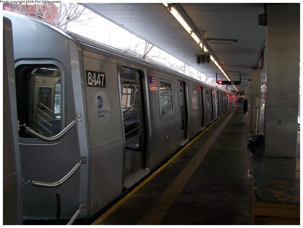 (180k, 1044x788)<br><b>Country:</b> United States<br><b>City:</b> New York<br><b>System:</b> New York City Transit<br><b>Line:</b> BMT Myrtle Avenue Line<br><b>Location:</b> Metropolitan Avenue <br><b>Route:</b> M<br><b>Car:</b> R-160A-1 (Alstom, 2005-2008, 4 car sets)  8447 <br><b>Photo by:</b> Philip D'Allesandro<br><b>Date:</b> 2/23/2008<br><b>Viewed (this week/total):</b> 2 / 2711