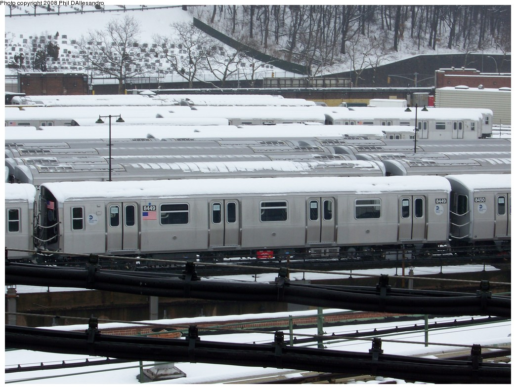 (245k, 1044x788)<br><b>Country:</b> United States<br><b>City:</b> New York<br><b>System:</b> New York City Transit<br><b>Location:</b> East New York Yard/Shops<br><b>Car:</b> R-160A-1 (Alstom, 2005-2008, 4 car sets)  8449 <br><b>Photo by:</b> Philip D'Allesandro<br><b>Date:</b> 2/22/2008<br><b>Viewed (this week/total):</b> 1 / 1692