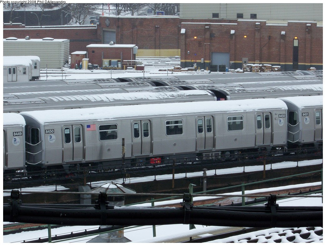 (236k, 1044x788)<br><b>Country:</b> United States<br><b>City:</b> New York<br><b>System:</b> New York City Transit<br><b>Location:</b> East New York Yard/Shops<br><b>Car:</b> R-160A-1 (Alstom, 2005-2008, 4 car sets)  8450 <br><b>Photo by:</b> Philip D'Allesandro<br><b>Date:</b> 2/22/2008<br><b>Viewed (this week/total):</b> 0 / 1770