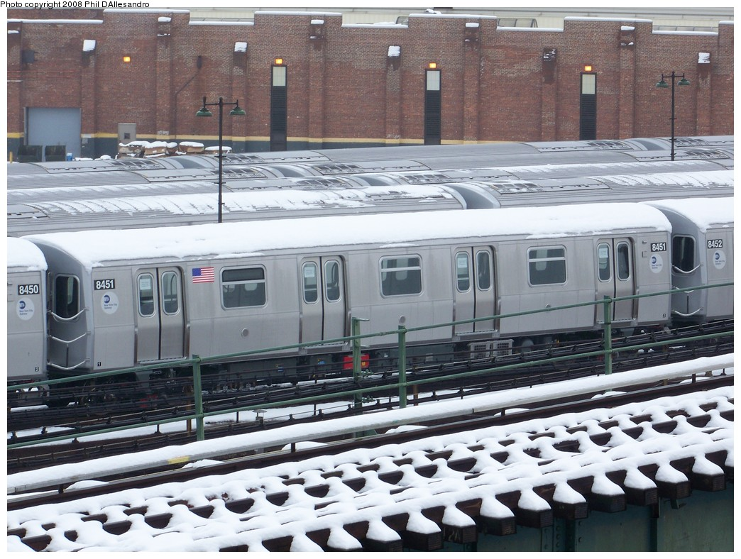 (253k, 1044x788)<br><b>Country:</b> United States<br><b>City:</b> New York<br><b>System:</b> New York City Transit<br><b>Location:</b> East New York Yard/Shops<br><b>Car:</b> R-160A-1 (Alstom, 2005-2008, 4 car sets)  8451 <br><b>Photo by:</b> Philip D'Allesandro<br><b>Date:</b> 2/22/2008<br><b>Viewed (this week/total):</b> 2 / 1868