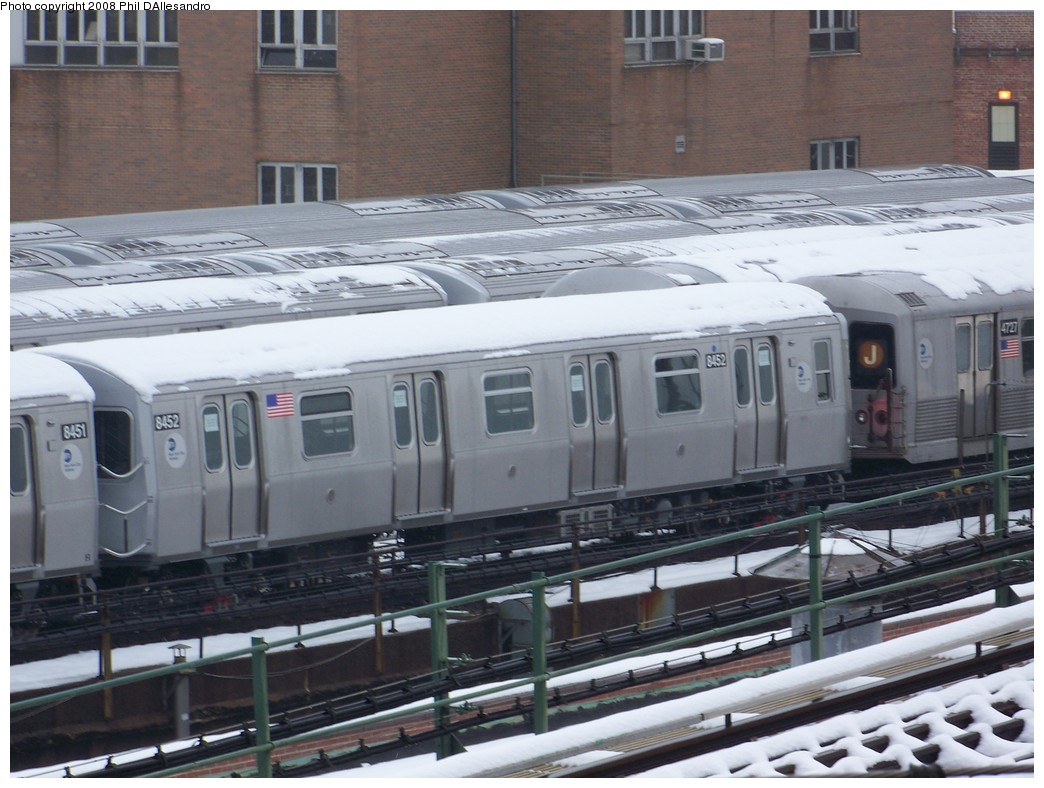 (214k, 1044x788)<br><b>Country:</b> United States<br><b>City:</b> New York<br><b>System:</b> New York City Transit<br><b>Location:</b> East New York Yard/Shops<br><b>Car:</b> R-160A-1 (Alstom, 2005-2008, 4 car sets)  8452 <br><b>Photo by:</b> Philip D'Allesandro<br><b>Date:</b> 2/22/2008<br><b>Viewed (this week/total):</b> 0 / 1991