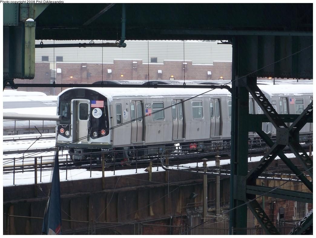 (220k, 1044x788)<br><b>Country:</b> United States<br><b>City:</b> New York<br><b>System:</b> New York City Transit<br><b>Location:</b> East New York Yard/Shops<br><b>Car:</b> R-160A-1 (Alstom, 2005-2008, 4 car sets)  8453 <br><b>Photo by:</b> Philip D'Allesandro<br><b>Date:</b> 2/22/2008<br><b>Viewed (this week/total):</b> 0 / 1633