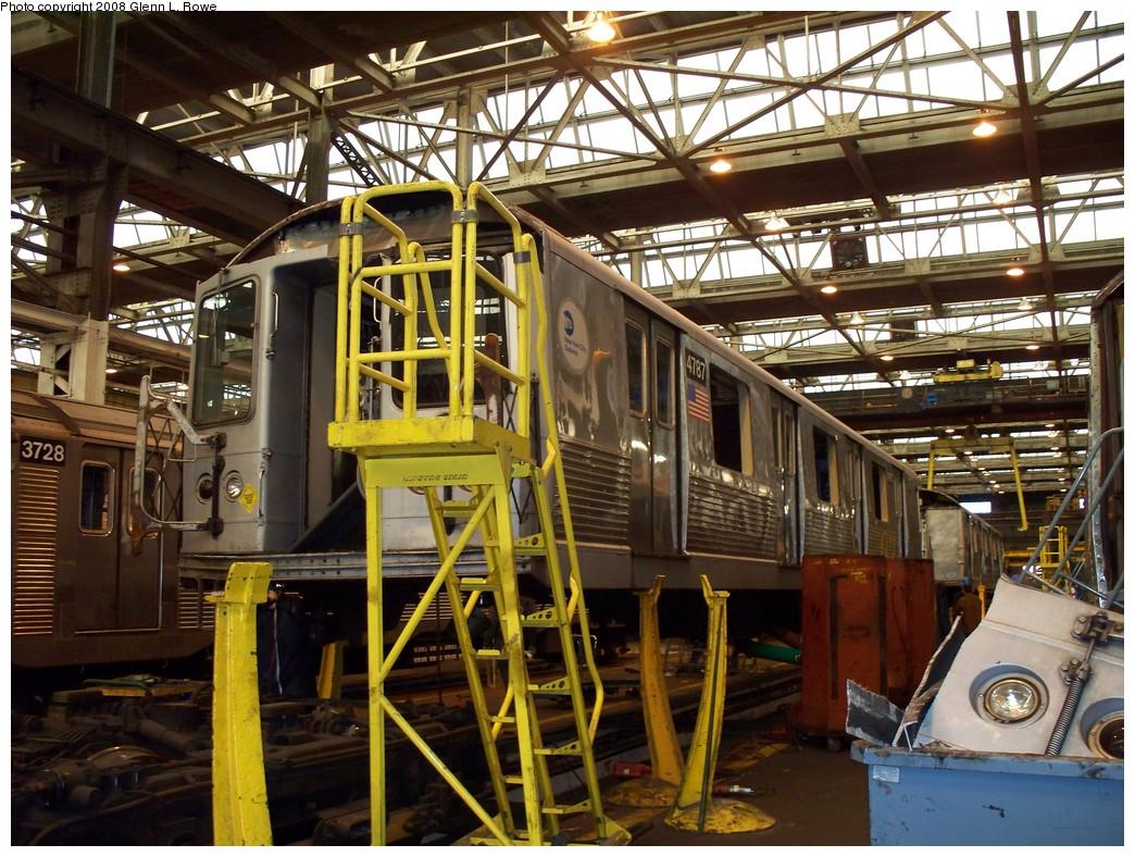 (289k, 1044x788)<br><b>Country:</b> United States<br><b>City:</b> New York<br><b>System:</b> New York City Transit<br><b>Location:</b> 207th Street Shop<br><b>Car:</b> R-42 (St. Louis, 1969-1970)  4787 <br><b>Photo by:</b> Glenn L. Rowe<br><b>Date:</b> 2/21/2008<br><b>Viewed (this week/total):</b> 0 / 981