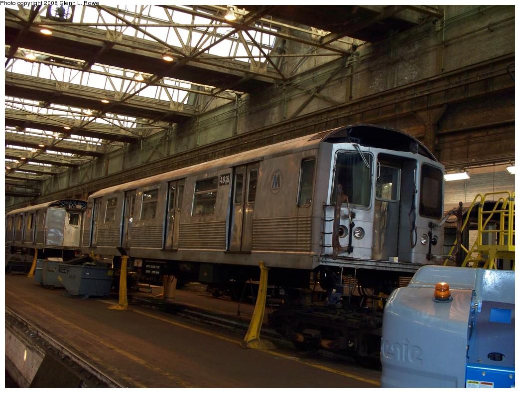 (246k, 1044x788)<br><b>Country:</b> United States<br><b>City:</b> New York<br><b>System:</b> New York City Transit<br><b>Location:</b> 207th Street Shop<br><b>Car:</b> R-42 (St. Louis, 1969-1970)  4818 <br><b>Photo by:</b> Glenn L. Rowe<br><b>Date:</b> 2/21/2008<br><b>Viewed (this week/total):</b> 0 / 1419
