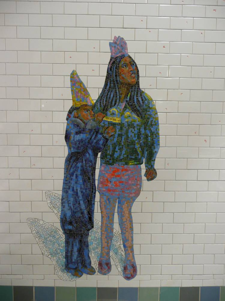 (92k, 750x1000)<br><b>Country:</b> United States<br><b>City:</b> New York<br><b>System:</b> New York City Transit<br><b>Line:</b> IRT West Side Line<br><b>Location:</b> Times Square/42nd Street <br><b>Photo by:</b> Robbie Rosenfeld<br><b>Date:</b> 2/7/2008<br><b>Artwork:</b> <i>The Revelers</i>, Jane Dickson (2007).<br><b>Viewed (this week/total):</b> 2 / 1461
