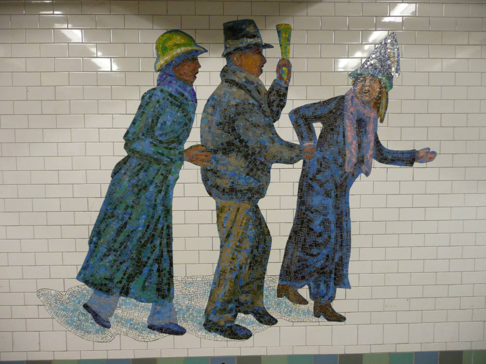 (126k, 1000x750)<br><b>Country:</b> United States<br><b>City:</b> New York<br><b>System:</b> New York City Transit<br><b>Line:</b> IRT West Side Line<br><b>Location:</b> Times Square/42nd Street <br><b>Photo by:</b> Robbie Rosenfeld<br><b>Date:</b> 2/7/2008<br><b>Artwork:</b> <i>The Revelers</i>, Jane Dickson (2007).<br><b>Viewed (this week/total):</b> 0 / 854