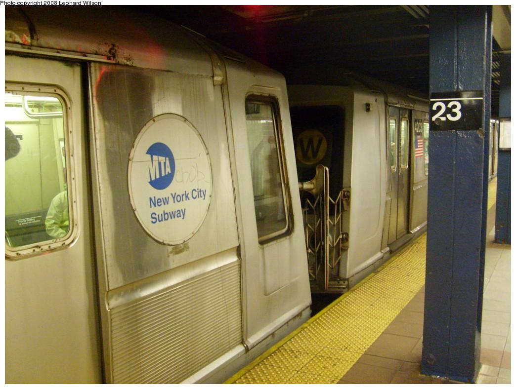 (251k, 1044x788)<br><b>Country:</b> United States<br><b>City:</b> New York<br><b>System:</b> New York City Transit<br><b>Line:</b> BMT Broadway Line<br><b>Location:</b> 23rd Street <br><b>Route:</b> W<br><b>Car:</b> R-40 (St. Louis, 1968)  4203 <br><b>Photo by:</b> Leonard Wilson<br><b>Date:</b> 2/15/2008<br><b>Viewed (this week/total):</b> 4 / 2777