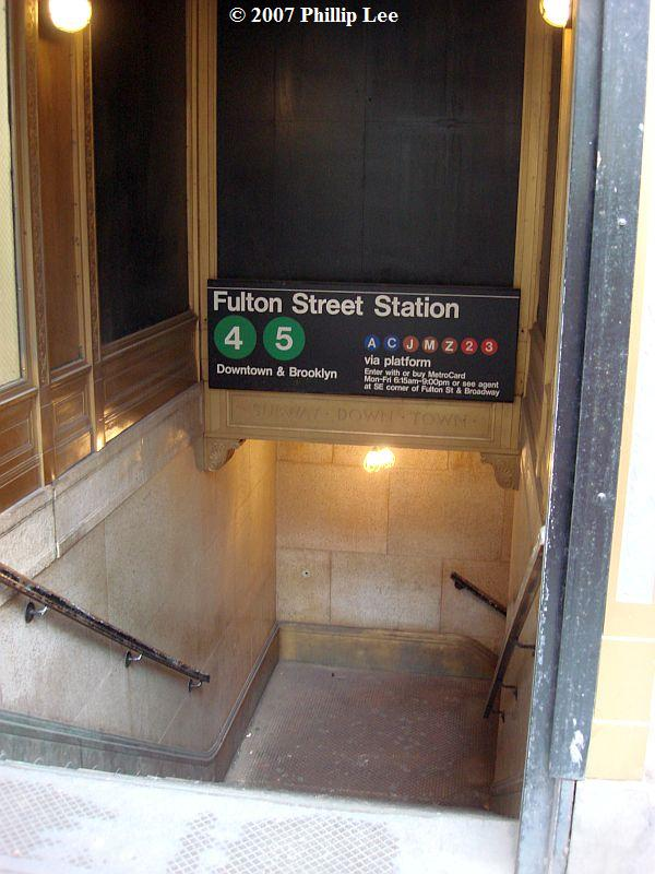 (88k, 600x800)<br><b>Country:</b> United States<br><b>City:</b> New York<br><b>System:</b> New York City Transit<br><b>Line:</b> IRT East Side Line<br><b>Location:</b> Fulton Street <br><b>Photo by:</b> Phillip Lee<br><b>Date:</b> 12/12/2007<br><b>Notes:</b> Station entrance.<br><b>Viewed (this week/total):</b> 2 / 2753