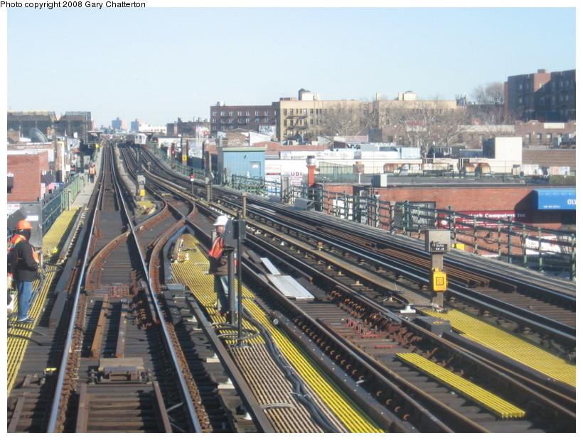 (171k, 820x620)<br><b>Country:</b> United States<br><b>City:</b> New York<br><b>System:</b> New York City Transit<br><b>Line:</b> IRT Flushing Line<br><b>Location:</b> 74th Street/Broadway <br><b>Photo by:</b> Gary Chatterton<br><b>Date:</b> 2/14/2008<br><b>Notes:</b> New Switch Track East of 74 Street Station, Express-S/B Local<br><b>Viewed (this week/total):</b> 4 / 1180
