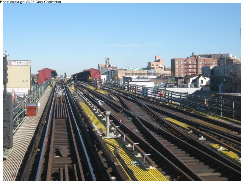 (149k, 820x620)<br><b>Country:</b> United States<br><b>City:</b> New York<br><b>System:</b> New York City Transit<br><b>Line:</b> IRT Flushing Line<br><b>Location:</b> 74th Street/Broadway <br><b>Photo by:</b> Gary Chatterton<br><b>Date:</b> 2/14/2008<br><b>Notes:</b> New Switch Track West of 74 St Station, Express-N/B Local<br><b>Viewed (this week/total):</b> 1 / 1031