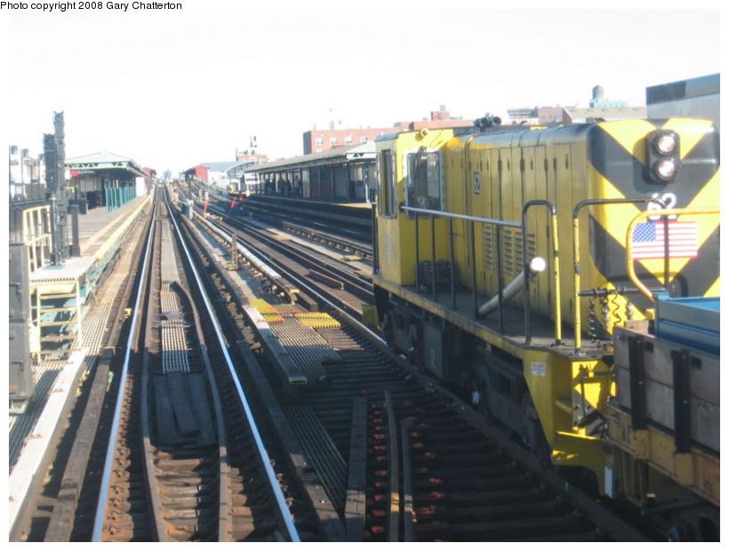 (128k, 820x620)<br><b>Country:</b> United States<br><b>City:</b> New York<br><b>System:</b> New York City Transit<br><b>Line:</b> IRT Flushing Line<br><b>Location:</b> 69th Street/Fisk Avenue <br><b>Route:</b> Work Service<br><b>Car:</b> R-43 Locomotive  62 <br><b>Photo by:</b> Gary Chatterton<br><b>Date:</b> 2/14/2008<br><b>Notes:</b> Old Switch Replacement West of 69 Street Station<br><b>Viewed (this week/total):</b> 0 / 1999