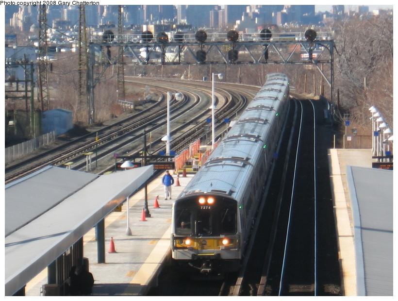 (157k, 820x620)<br><b>Country:</b> United States<br><b>City:</b> New York<br><b>System:</b> Long Island Rail Road<br><b>Line:</b> LIRR Main Line<br><b>Location:</b> Woodside<br><b>Car:</b> LIRR M-7 EMU (Bombardier) 7274 <br><b>Photo by:</b> Gary Chatterton<br><b>Date:</b> 2/14/2008<br><b>Viewed (this week/total):</b> 0 / 993