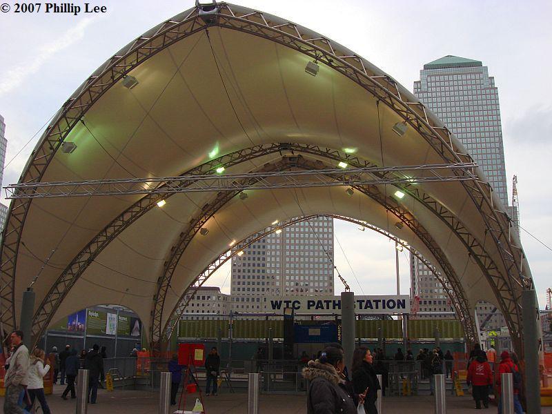 (101k, 800x600)<br><b>Country:</b> United States<br><b>City:</b> New York<br><b>System:</b> PATH<br><b>Location:</b> World Trade Center <br><b>Photo by:</b> Phillip Lee<br><b>Date:</b> 12/12/2007<br><b>Notes:</b> Temporary PATH station entrance.<br><b>Viewed (this week/total):</b> 1 / 2401