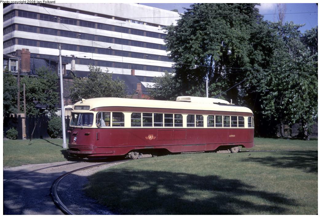 (299k, 1044x708)<br><b>Country:</b> Canada<br><b>City:</b> Toronto<br><b>System:</b> TTC<br><b>Line:</b> TTC 502-Downtowner<br><b>Location:</b> McCaul Loop <br><b>Car:</b> PCC (TTC Toronto) 4589 <br><b>Photo by:</b> Ian Folkard<br><b>Date:</b> 7/1970<br><b>Notes:</b> McCaul Loop was an open-air loop until the Village by the Grange building was erected over it, opening in 1976.  <br><b>Viewed (this week/total):</b> 0 / 960