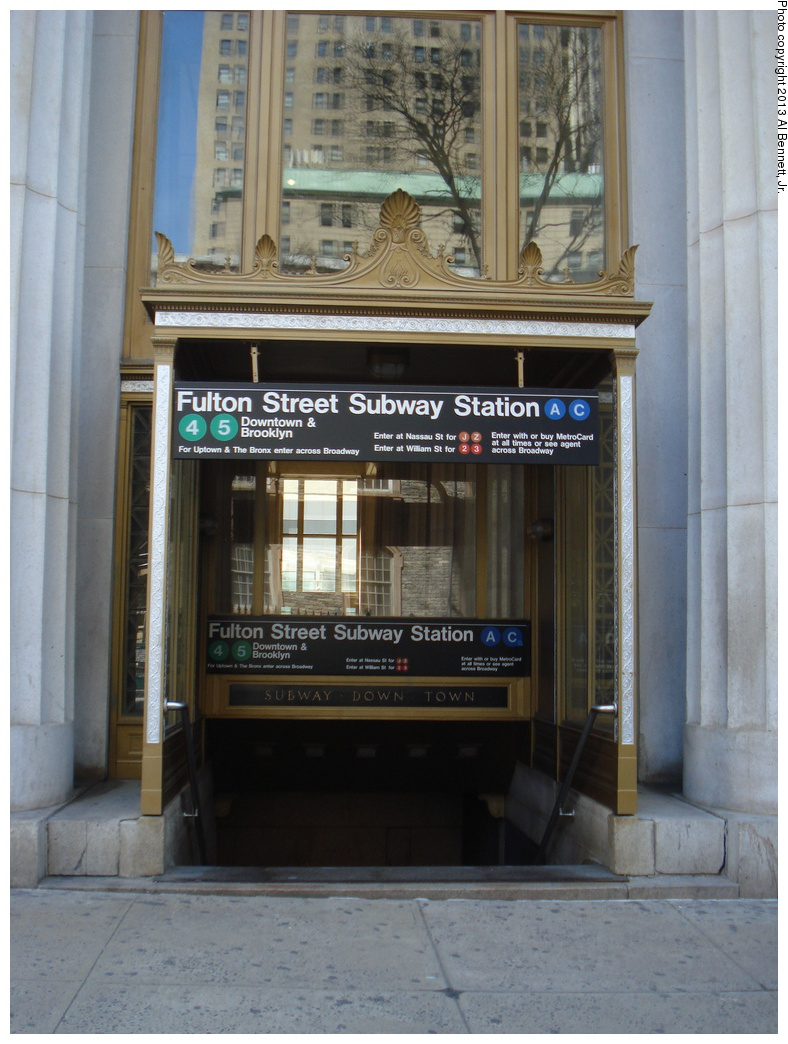(311k, 788x1044)<br><b>Country:</b> United States<br><b>City:</b> New York<br><b>System:</b> New York City Transit<br><b>Line:</b> IRT East Side Line<br><b>Location:</b> Fulton Street <br><b>Photo by:</b> Al Bennett, Jr.<br><b>Date:</b> 4/4/2013<br><b>Viewed (this week/total):</b> 0 / 1570