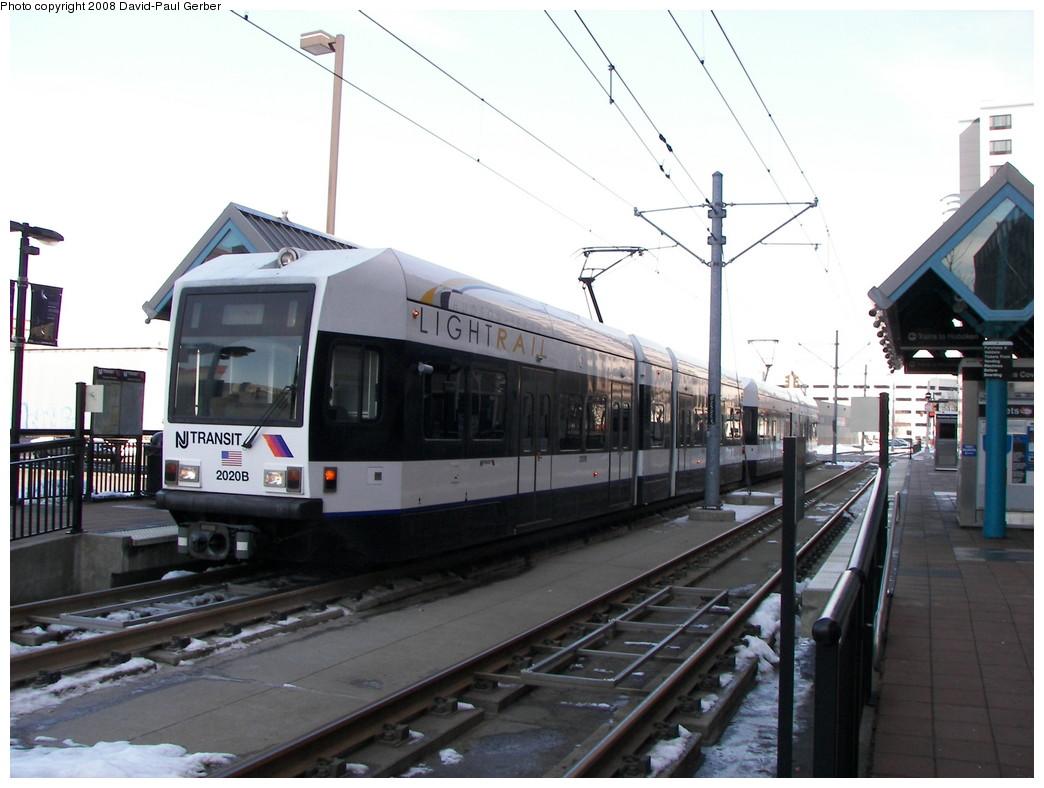(238k, 1044x788)<br><b>Country:</b> United States<br><b>City:</b> Jersey City, NJ<br><b>System:</b> Hudson Bergen Light Rail<br><b>Location:</b> Harsimus Cove <br><b>Car:</b> NJT-HBLR LRV (Kinki-Sharyo, 1998-99)  2020 <br><b>Photo by:</b> David-Paul Gerber<br><b>Date:</b> 2/25/2008<br><b>Viewed (this week/total):</b> 0 / 901