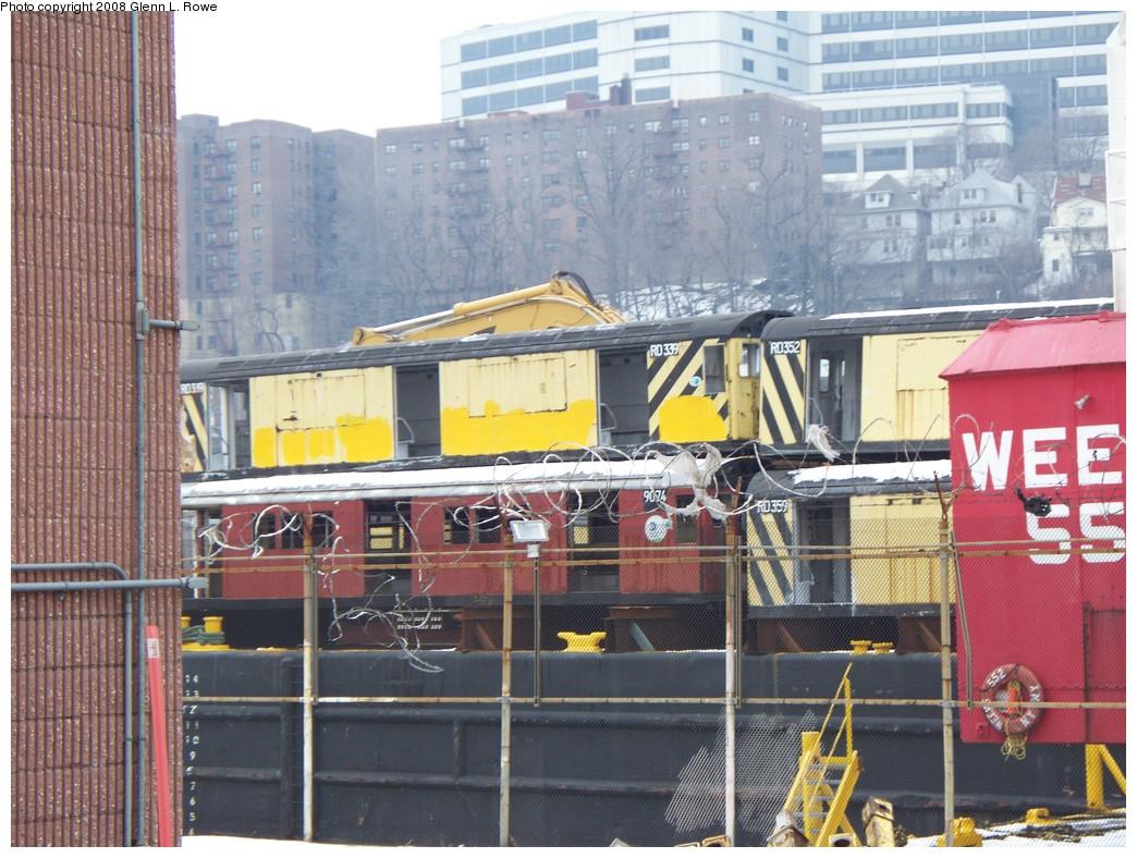 (258k, 1044x788)<br><b>Country:</b> United States<br><b>City:</b> New York<br><b>System:</b> New York City Transit<br><b>Location:</b> 207th Street Yard<br><b>Car:</b> R-33 Main Line (St. Louis, 1962-63) 9074 <br><b>Photo by:</b> Glenn L. Rowe<br><b>Date:</b> 2/26/2008<br><b>Notes:</b> With RD339, RD352, RD359<br><b>Viewed (this week/total):</b> 1 / 1470