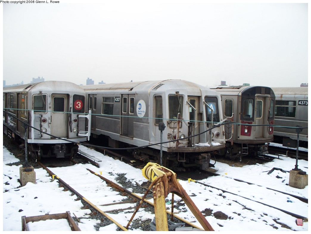 (191k, 1044x788)<br><b>Country:</b> United States<br><b>City:</b> New York<br><b>System:</b> New York City Transit<br><b>Location:</b> 207th Street Yard<br><b>Car:</b> R-40 (St. Louis, 1968)  4307 <br><b>Photo by:</b> Glenn L. Rowe<br><b>Date:</b> 2/26/2008<br><b>Viewed (this week/total):</b> 0 / 2877