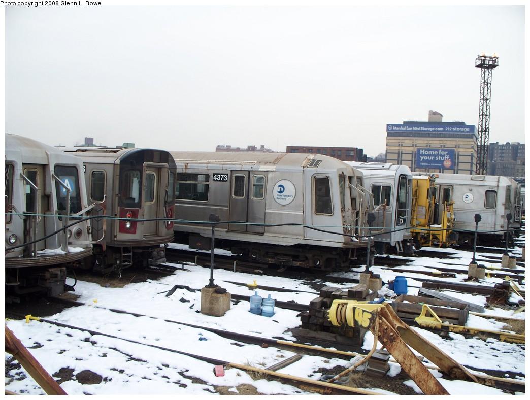 (215k, 1044x788)<br><b>Country:</b> United States<br><b>City:</b> New York<br><b>System:</b> New York City Transit<br><b>Location:</b> 207th Street Yard<br><b>Car:</b> R-40 (St. Louis, 1968)  4373 <br><b>Photo by:</b> Glenn L. Rowe<br><b>Date:</b> 2/26/2008<br><b>Viewed (this week/total):</b> 1 / 1964