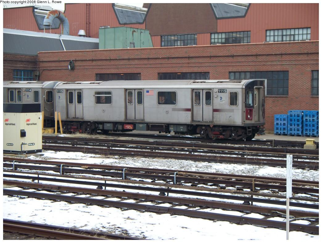 (254k, 1044x788)<br><b>Country:</b> United States<br><b>City:</b> New York<br><b>System:</b> New York City Transit<br><b>Location:</b> 207th Street Yard<br><b>Car:</b> R-142 (Option Order, Bombardier, 2002-2003)  1115 <br><b>Photo by:</b> Glenn L. Rowe<br><b>Date:</b> 2/26/2008<br><b>Viewed (this week/total):</b> 1 / 2241
