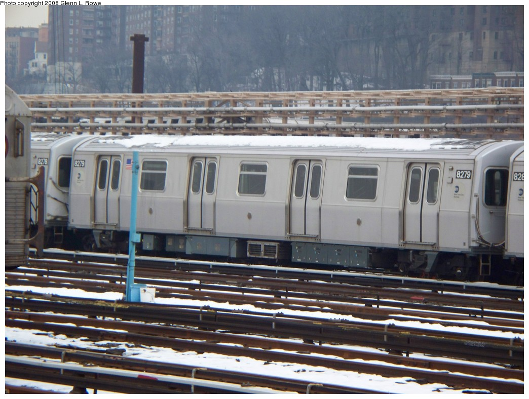 (221k, 1044x788)<br><b>Country:</b> United States<br><b>City:</b> New York<br><b>System:</b> New York City Transit<br><b>Location:</b> 207th Street Yard<br><b>Car:</b> R-143 (Kawasaki, 2001-2002) 8279 <br><b>Photo by:</b> Glenn L. Rowe<br><b>Date:</b> 2/26/2008<br><b>Viewed (this week/total):</b> 0 / 2320
