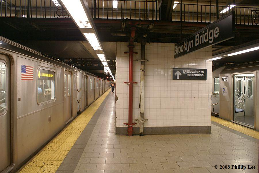 (118k, 900x602)<br><b>Country:</b> United States<br><b>City:</b> New York<br><b>System:</b> New York City Transit<br><b>Line:</b> IRT East Side Line<br><b>Location:</b> Brooklyn Bridge/City Hall <br><b>Route:</b> 4<br><b>Car:</b> R-142 or R-142A (Number Unknown)  <br><b>Photo by:</b> Phillip Lee<br><b>Date:</b> 2/5/2008<br><b>Viewed (this week/total):</b> 0 / 3151