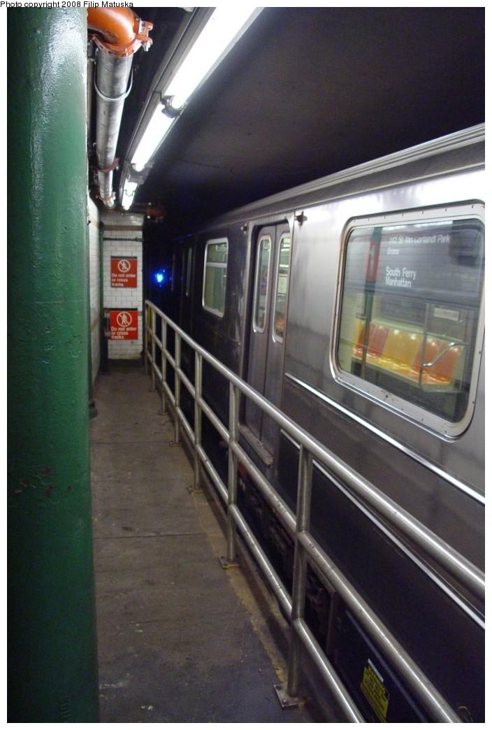 (168k, 704x1044)<br><b>Country:</b> United States<br><b>City:</b> New York<br><b>System:</b> New York City Transit<br><b>Line:</b> IRT West Side Line<br><b>Location:</b> South Ferry (Outer Loop Station) <br><b>Route:</b> 1<br><b>Car:</b> R-62A (Bombardier, 1984-1987)   <br><b>Photo by:</b> Filip Matuska<br><b>Date:</b> 6/6/2007<br><b>Viewed (this week/total):</b> 0 / 1461
