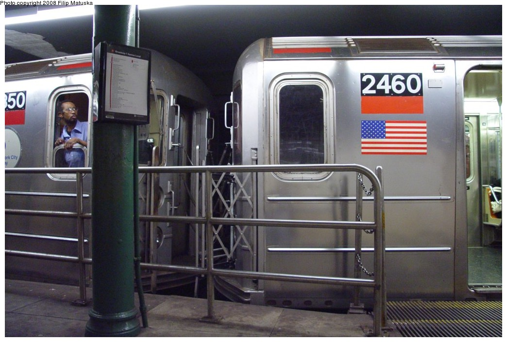 (177k, 1044x704)<br><b>Country:</b> United States<br><b>City:</b> New York<br><b>System:</b> New York City Transit<br><b>Line:</b> IRT West Side Line<br><b>Location:</b> South Ferry (Outer Loop Station) <br><b>Route:</b> 1<br><b>Car:</b> R-62A (Bombardier, 1984-1987)  2460 <br><b>Photo by:</b> Filip Matuska<br><b>Date:</b> 6/6/2007<br><b>Viewed (this week/total):</b> 2 / 2124