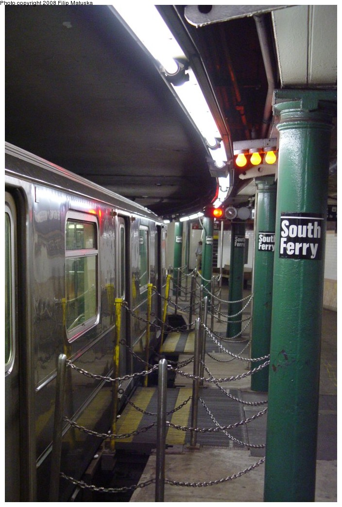 (181k, 704x1044)<br><b>Country:</b> United States<br><b>City:</b> New York<br><b>System:</b> New York City Transit<br><b>Line:</b> IRT West Side Line<br><b>Location:</b> South Ferry (Outer Loop Station) <br><b>Route:</b> 1<br><b>Car:</b> R-62A (Bombardier, 1984-1987)  2460 <br><b>Photo by:</b> Filip Matuska<br><b>Date:</b> 6/6/2007<br><b>Notes:</b> Gap fillers.<br><b>Viewed (this week/total):</b> 1 / 1530