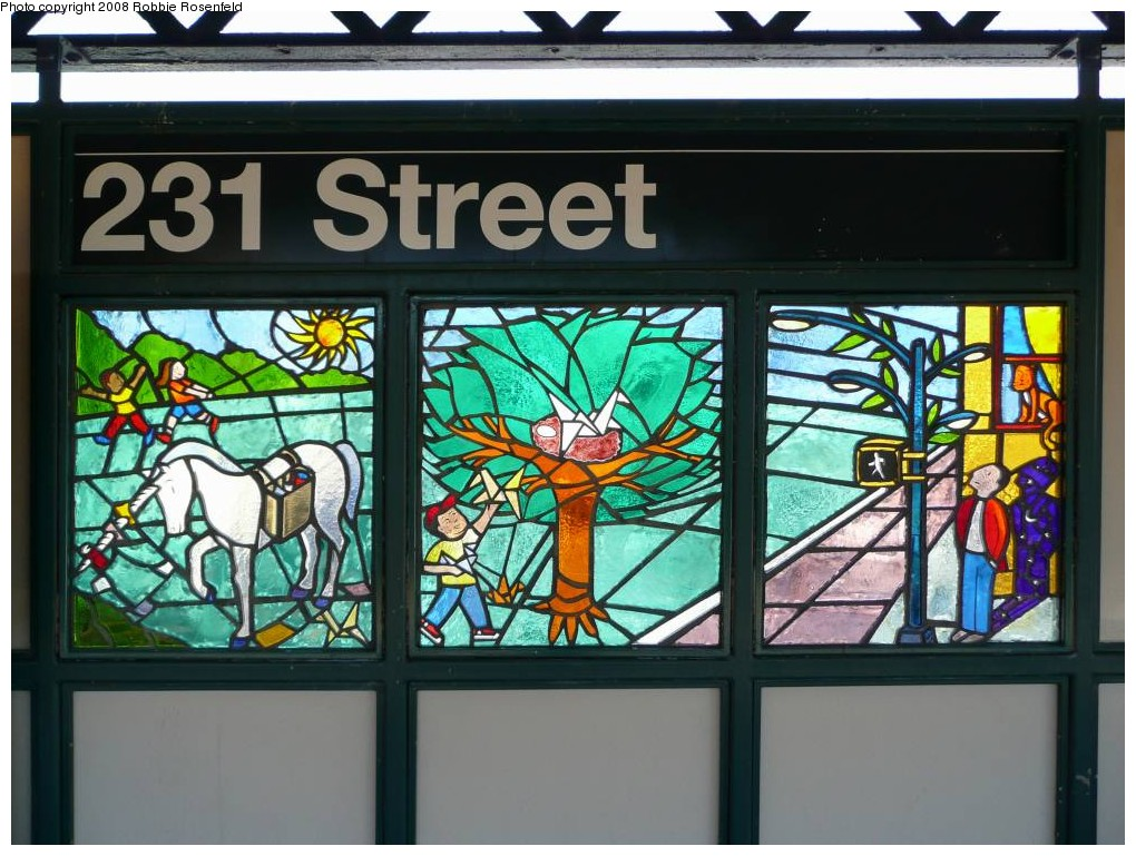 (230k, 1020x769)<br><b>Country:</b> United States<br><b>City:</b> New York<br><b>System:</b> New York City Transit<br><b>Line:</b> IRT West Side Line<br><b>Location:</b> 231st Street <br><b>Photo by:</b> Robbie Rosenfeld<br><b>Date:</b> 2/25/2008<br><b>Artwork:</b> <i>Magic Realism in Kingsbridge</i>, Felipe Galindo (2007).<br><b>Viewed (this week/total):</b> 0 / 1803