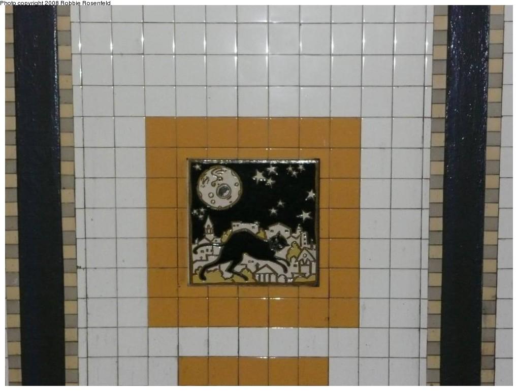 (158k, 1020x770)<br><b>Country:</b> United States<br><b>City:</b> New York<br><b>System:</b> New York City Transit<br><b>Line:</b> IRT Brooklyn Line<br><b>Location:</b> Utica Avenue <br><b>Photo by:</b> Robbie Rosenfeld<br><b>Date:</b> 2/27/2008<br><b>Artwork:</b> <i>Good Morning, Good Night</i>, Hugo Consuegra.<br><b>Viewed (this week/total):</b> 0 / 2061