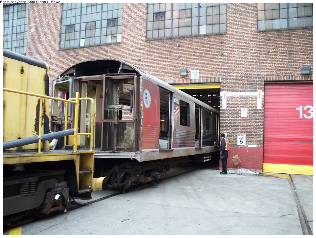(280k, 1044x788)<br><b>Country:</b> United States<br><b>City:</b> New York<br><b>System:</b> New York City Transit<br><b>Location:</b> 207th Street Yard<br><b>Car:</b> R-42 (St. Louis, 1969-1970)  4818 <br><b>Photo by:</b> Glenn L. Rowe<br><b>Date:</b> 2/26/2008<br><b>Viewed (this week/total):</b> 0 / 1200