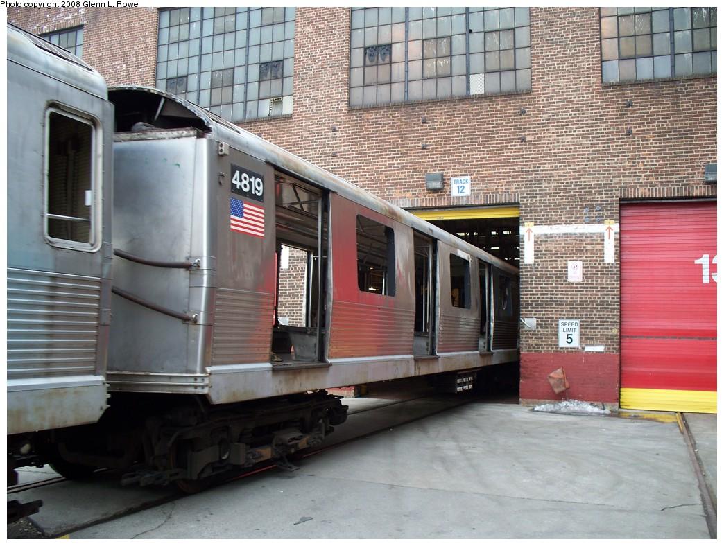 (259k, 1044x788)<br><b>Country:</b> United States<br><b>City:</b> New York<br><b>System:</b> New York City Transit<br><b>Location:</b> 207th Street Yard<br><b>Car:</b> R-42 (St. Louis, 1969-1970)  4819 <br><b>Photo by:</b> Glenn L. Rowe<br><b>Date:</b> 2/26/2008<br><b>Viewed (this week/total):</b> 0 / 1069