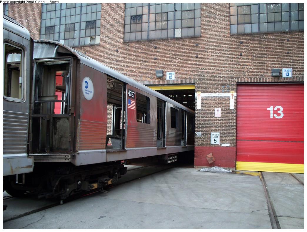 (261k, 1044x788)<br><b>Country:</b> United States<br><b>City:</b> New York<br><b>System:</b> New York City Transit<br><b>Location:</b> 207th Street Yard<br><b>Car:</b> R-42 (St. Louis, 1969-1970)  4787 <br><b>Photo by:</b> Glenn L. Rowe<br><b>Date:</b> 2/26/2008<br><b>Viewed (this week/total):</b> 0 / 1442