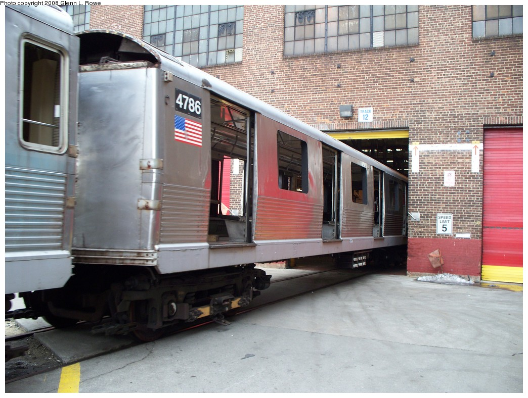 (244k, 1044x788)<br><b>Country:</b> United States<br><b>City:</b> New York<br><b>System:</b> New York City Transit<br><b>Location:</b> 207th Street Yard<br><b>Car:</b> R-42 (St. Louis, 1969-1970)  4786 <br><b>Photo by:</b> Glenn L. Rowe<br><b>Date:</b> 2/26/2008<br><b>Viewed (this week/total):</b> 0 / 1483