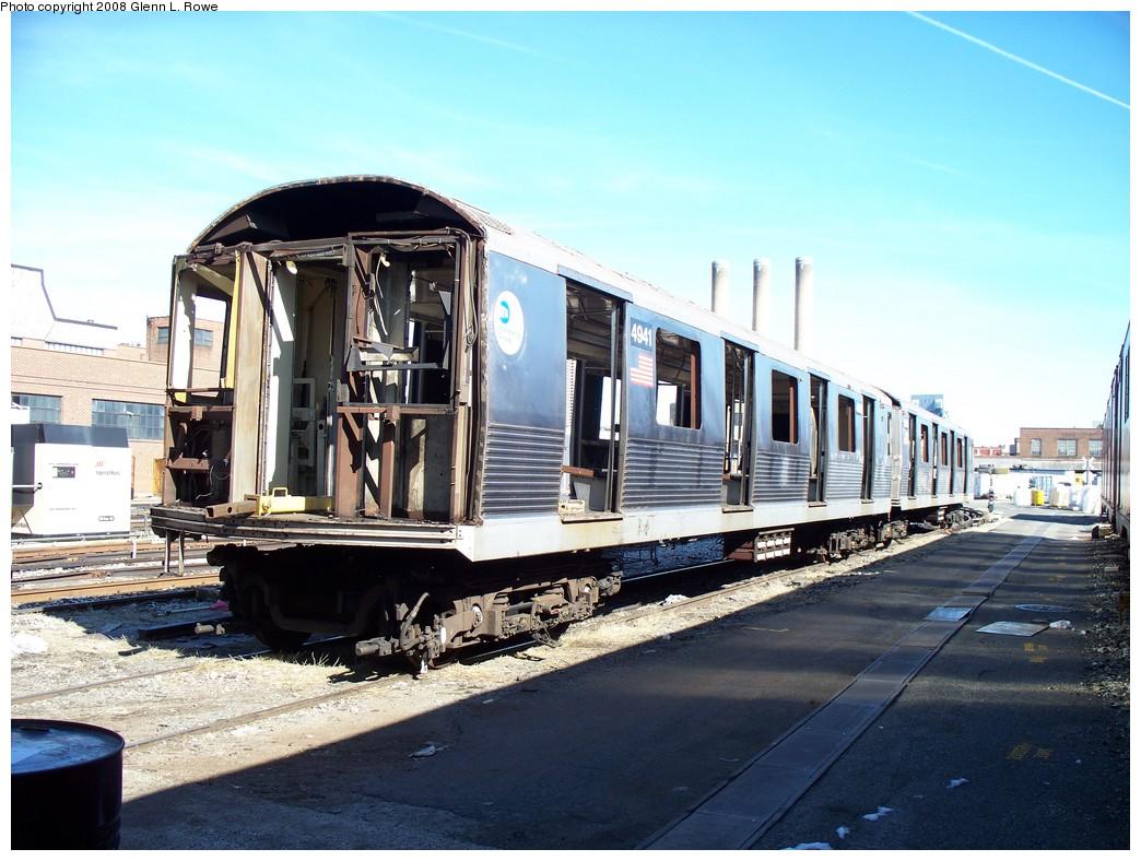 (228k, 1044x788)<br><b>Country:</b> United States<br><b>City:</b> New York<br><b>System:</b> New York City Transit<br><b>Location:</b> 207th Street Yard<br><b>Car:</b> R-42 (St. Louis, 1969-1970)  4941 <br><b>Photo by:</b> Glenn L. Rowe<br><b>Date:</b> 2/29/2008<br><b>Viewed (this week/total):</b> 0 / 1361