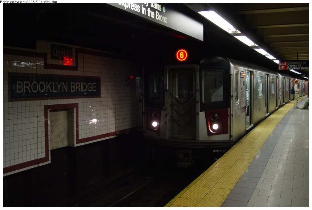 (125k, 1044x704)<br><b>Country:</b> United States<br><b>City:</b> New York<br><b>System:</b> New York City Transit<br><b>Line:</b> IRT East Side Line<br><b>Location:</b> Brooklyn Bridge/City Hall <br><b>Route:</b> 6<br><b>Car:</b> R-142A (Primary Order, Kawasaki, 1999-2002)  7320 <br><b>Photo by:</b> Filip Matuska<br><b>Date:</b> 6/6/2007<br><b>Viewed (this week/total):</b> 0 / 2257