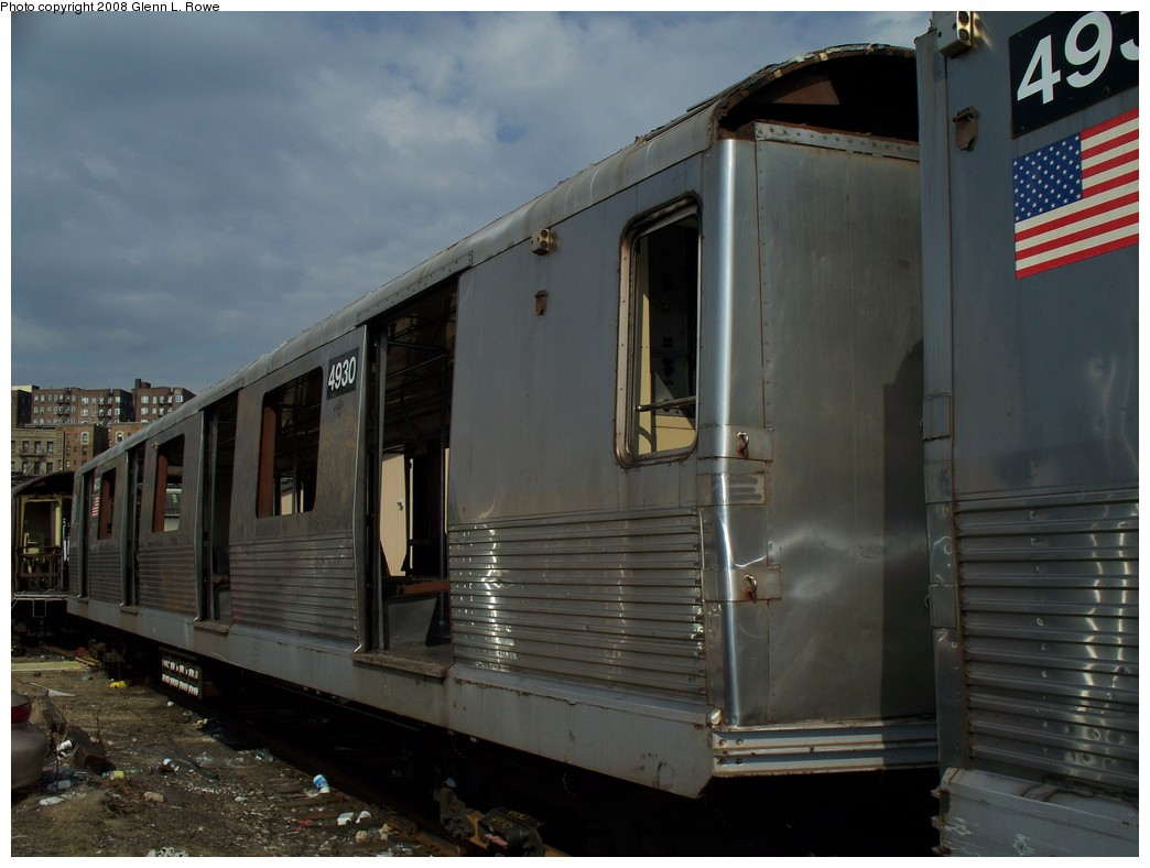 (176k, 1044x788)<br><b>Country:</b> United States<br><b>City:</b> New York<br><b>System:</b> New York City Transit<br><b>Location:</b> 207th Street Yard<br><b>Car:</b> R-42 (St. Louis, 1969-1970)  4930 <br><b>Photo by:</b> Glenn L. Rowe<br><b>Date:</b> 3/3/2008<br><b>Viewed (this week/total):</b> 5 / 1491