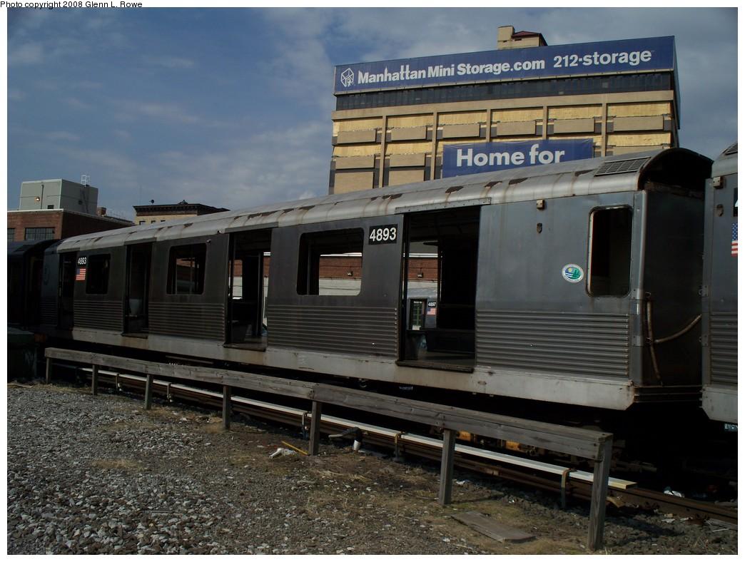 (222k, 1044x788)<br><b>Country:</b> United States<br><b>City:</b> New York<br><b>System:</b> New York City Transit<br><b>Location:</b> 207th Street Yard<br><b>Car:</b> R-42 (St. Louis, 1969-1970)  4893 <br><b>Photo by:</b> Glenn L. Rowe<br><b>Date:</b> 3/3/2008<br><b>Viewed (this week/total):</b> 1 / 1112