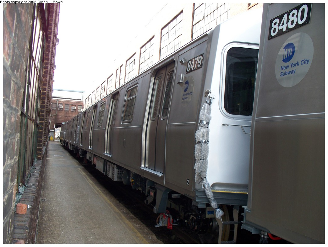 (197k, 1044x788)<br><b>Country:</b> United States<br><b>City:</b> New York<br><b>System:</b> New York City Transit<br><b>Location:</b> 207th Street Yard<br><b>Car:</b> R-160A-1 (Alstom, 2005-2008, 4 car sets)  8479 <br><b>Photo by:</b> Glenn L. Rowe<br><b>Date:</b> 3/3/2008<br><b>Viewed (this week/total):</b> 0 / 1992