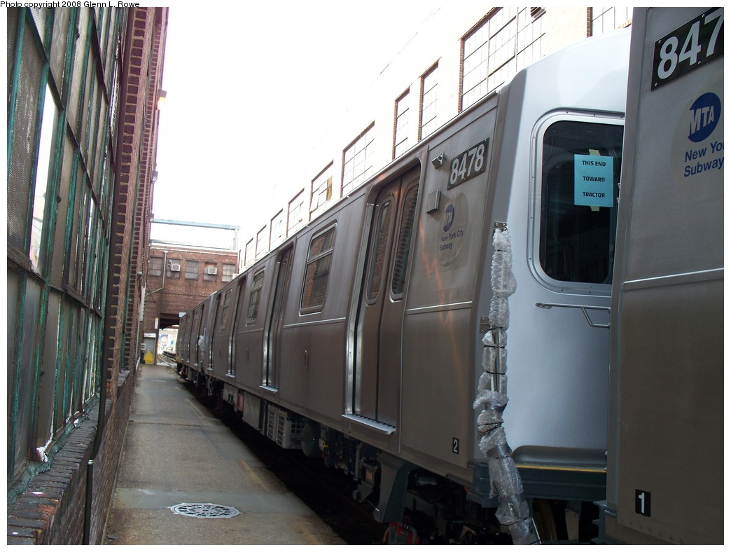 (201k, 1044x788)<br><b>Country:</b> United States<br><b>City:</b> New York<br><b>System:</b> New York City Transit<br><b>Location:</b> 207th Street Yard<br><b>Car:</b> R-160A-1 (Alstom, 2005-2008, 4 car sets)  8478 <br><b>Photo by:</b> Glenn L. Rowe<br><b>Date:</b> 3/3/2008<br><b>Viewed (this week/total):</b> 0 / 2343