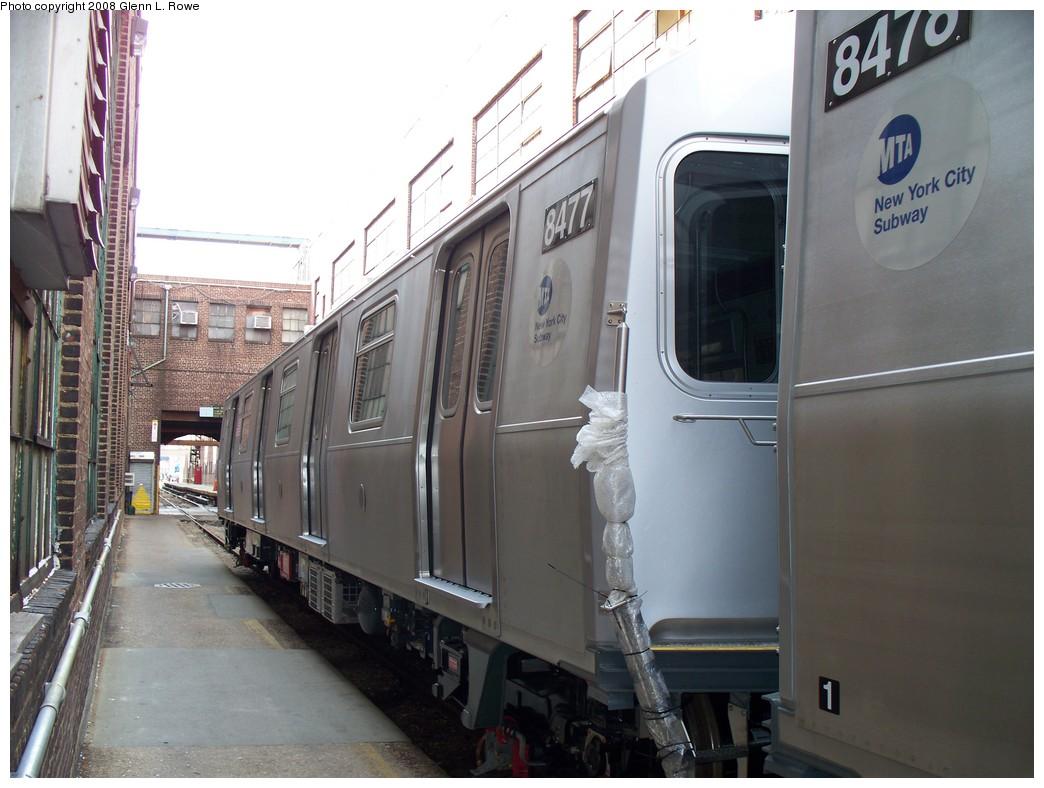 (192k, 1044x788)<br><b>Country:</b> United States<br><b>City:</b> New York<br><b>System:</b> New York City Transit<br><b>Location:</b> 207th Street Yard<br><b>Car:</b> R-160A-1 (Alstom, 2005-2008, 4 car sets)  8477 <br><b>Photo by:</b> Glenn L. Rowe<br><b>Date:</b> 3/3/2008<br><b>Viewed (this week/total):</b> 0 / 1994