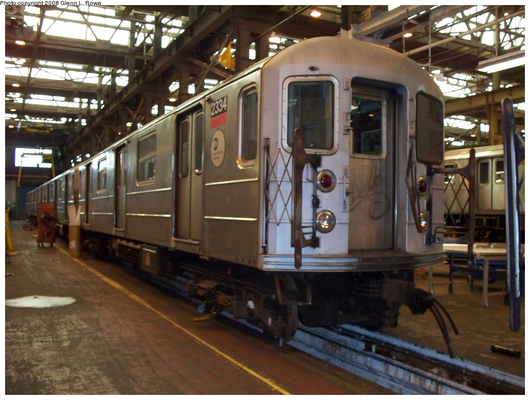 (213k, 1044x788)<br><b>Country:</b> United States<br><b>City:</b> New York<br><b>System:</b> New York City Transit<br><b>Location:</b> 207th Street Shop<br><b>Car:</b> R-62A (Bombardier, 1984-1987)  2334 <br><b>Photo by:</b> Glenn L. Rowe<br><b>Date:</b> 3/3/2008<br><b>Viewed (this week/total):</b> 0 / 1702
