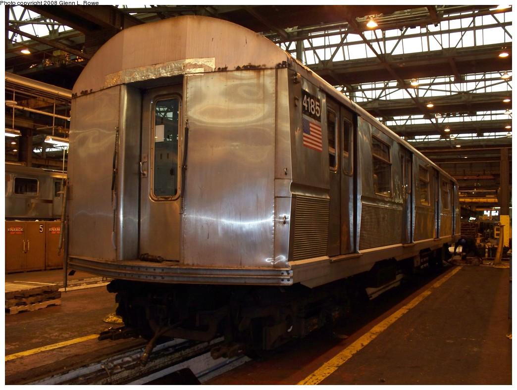(222k, 1044x788)<br><b>Country:</b> United States<br><b>City:</b> New York<br><b>System:</b> New York City Transit<br><b>Location:</b> 207th Street Shop<br><b>Car:</b> R-40 (St. Louis, 1968)  4185 <br><b>Photo by:</b> Glenn L. Rowe<br><b>Date:</b> 3/4/2008<br><b>Viewed (this week/total):</b> 0 / 1256