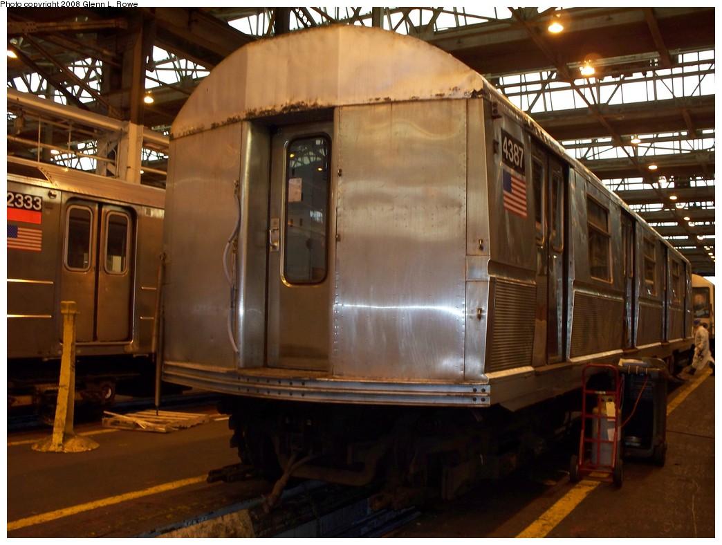 (208k, 1044x788)<br><b>Country:</b> United States<br><b>City:</b> New York<br><b>System:</b> New York City Transit<br><b>Location:</b> 207th Street Shop<br><b>Car:</b> R-40 (St. Louis, 1968)  4387 <br><b>Photo by:</b> Glenn L. Rowe<br><b>Date:</b> 3/4/2008<br><b>Viewed (this week/total):</b> 0 / 1155