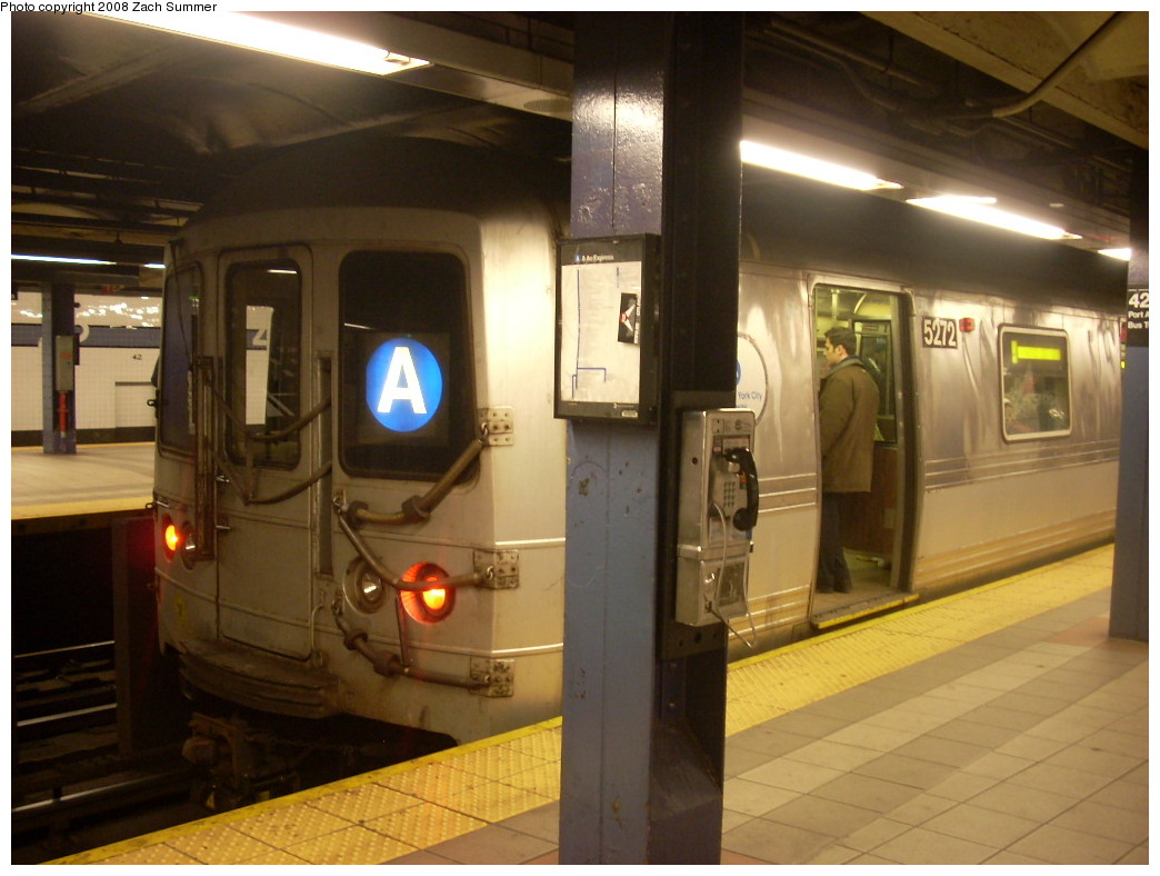 (219k, 1044x788)<br><b>Country:</b> United States<br><b>City:</b> New York<br><b>System:</b> New York City Transit<br><b>Line:</b> IND 8th Avenue Line<br><b>Location:</b> 42nd Street/Port Authority Bus Terminal <br><b>Route:</b> A<br><b>Car:</b> R-44 (St. Louis, 1971-73) 5272 <br><b>Photo by:</b> Zach Summer<br><b>Date:</b> 12/18/2007<br><b>Viewed (this week/total):</b> 1 / 2959