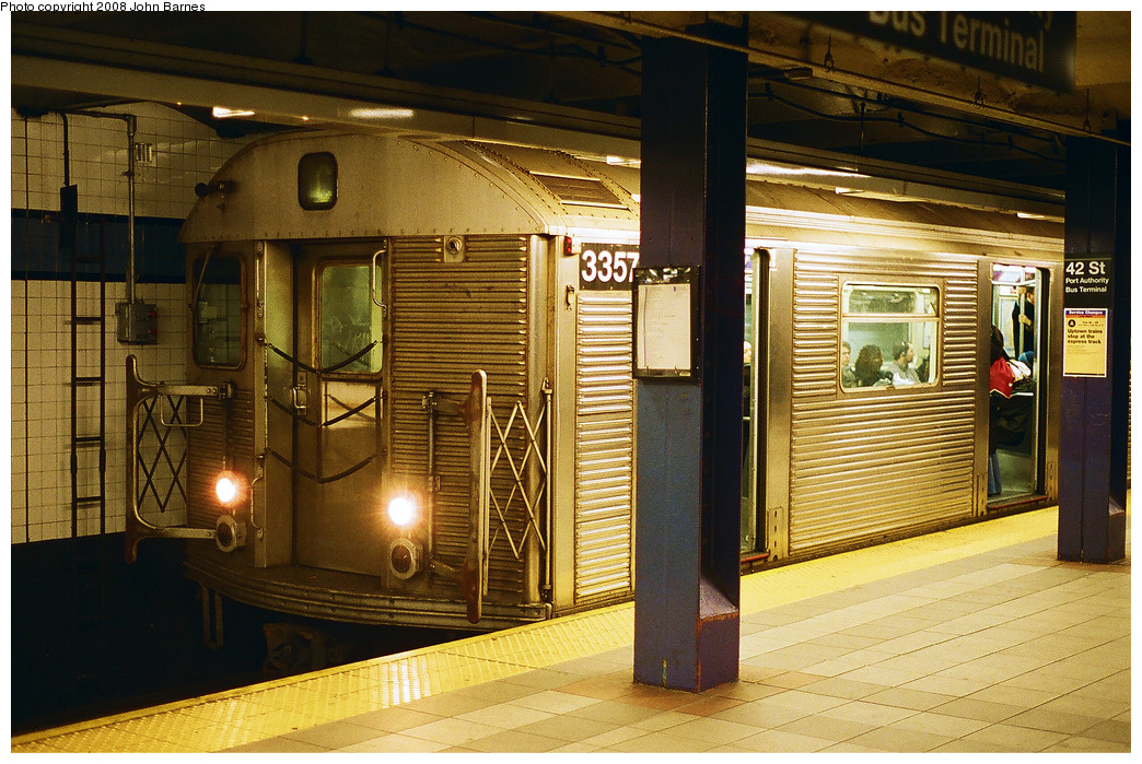 (310k, 1044x699)<br><b>Country:</b> United States<br><b>City:</b> New York<br><b>System:</b> New York City Transit<br><b>Line:</b> IND 8th Avenue Line<br><b>Location:</b> 42nd Street/Port Authority Bus Terminal <br><b>Route:</b> C<br><b>Car:</b> R-32 (Budd, 1964)  3357 <br><b>Photo by:</b> John Barnes<br><b>Date:</b> 2/25/2008<br><b>Viewed (this week/total):</b> 0 / 2366