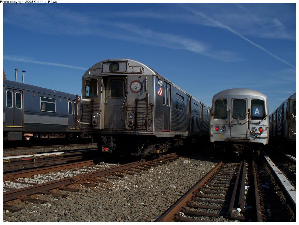 (225k, 1044x788)<br><b>Country:</b> United States<br><b>City:</b> New York<br><b>System:</b> New York City Transit<br><b>Location:</b> 207th Street Yard<br><b>Car:</b> R-38 (St. Louis, 1966-1967)  4020 <br><b>Photo by:</b> Glenn L. Rowe<br><b>Date:</b> 3/6/2008<br><b>Viewed (this week/total):</b> 0 / 1696