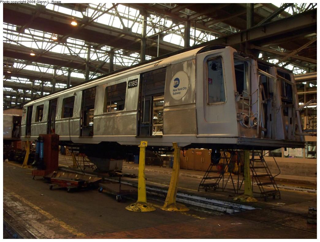 (243k, 1044x788)<br><b>Country:</b> United States<br><b>City:</b> New York<br><b>System:</b> New York City Transit<br><b>Location:</b> 207th Street Shop<br><b>Car:</b> R-40 (St. Louis, 1968)  4185 <br><b>Photo by:</b> Glenn L. Rowe<br><b>Date:</b> 3/6/2008<br><b>Viewed (this week/total):</b> 0 / 1707